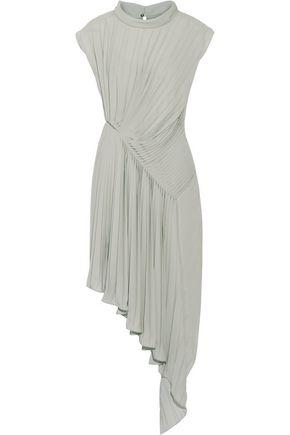 MAISON MARGIELA Asymmetric pleated georgette dress