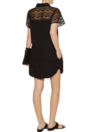 MARISSA WEBB Eda lace-paneled cotton-blend mini dress