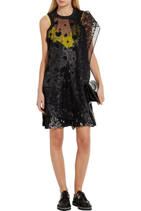 SACAI Embroidered organza and lace-paneled printed voile dress
