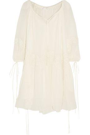 CHLOÉ Lace-appliquéd cotton-gauze mini dress