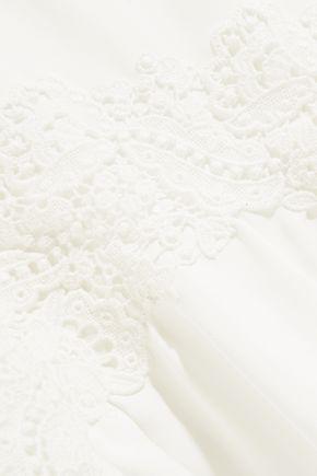 CHLOÉ Lace-appliquéd silk-cady mini dress