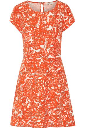 JOIE Eley cutout printed silk and linen-blend dress