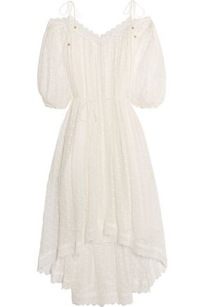 ZIMMERMANN Realm lace-trimmed fil coupé silk-georgette midi dress