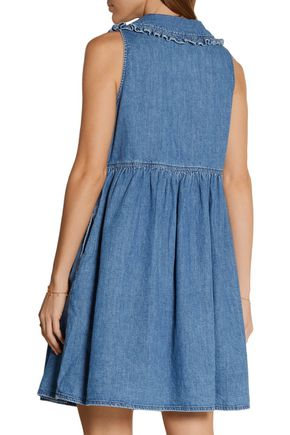 M.I.H JEANS Ruffle-trimmed chambray mini dress