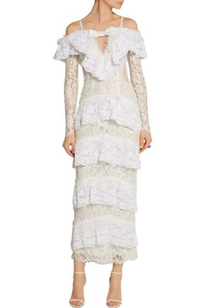 ALESSANDRA RICH Point d'esprit-paneled tiered lace gown
