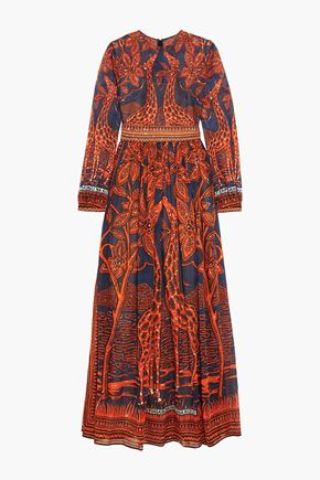 VALENTINO Printed cotton-voile gown