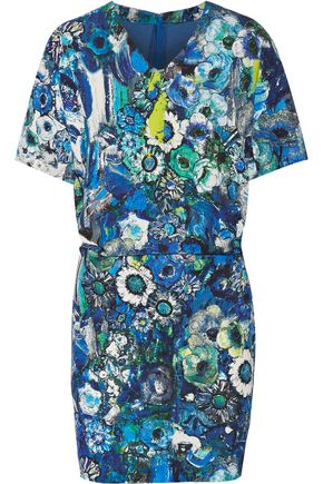 JUST CAVALLI Floral-print stretch-crepe mini dress