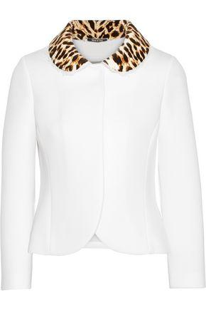 MAISON MARGIELA Leopard-print velvet-trimmed neoprene jacket