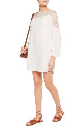 MAJE Razdy lace-paneled crepe mini dress