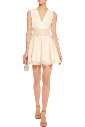 MAJE Riratoire lace-paneled crepe mini dress