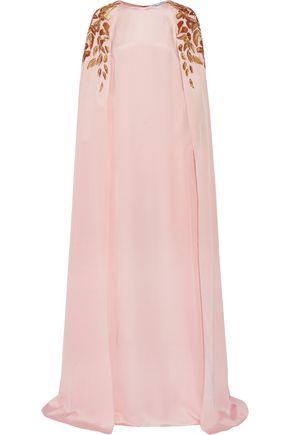 OSCAR DE LA RENTA Cape-effect embellished silk-crepe gown