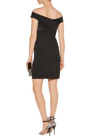HALSTON HERITAGE Off-the-shoulder ponte mini dress
