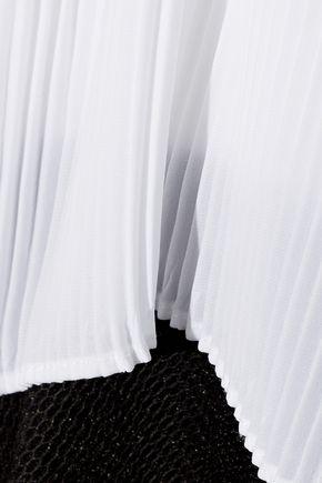 SANDRO Color-block plissé and mesh mini dress
