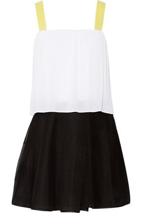 SANDRO Color-block plissé and mesh mini dress