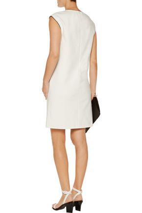 VINCE. Leather-trimmed cady mini dress