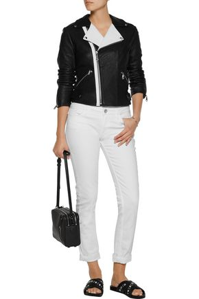 REBECCA MINKOFF Wolf two-tone textured-leather biker jacket