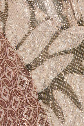 BIYAN Jeane silk-blend lamé peplum top