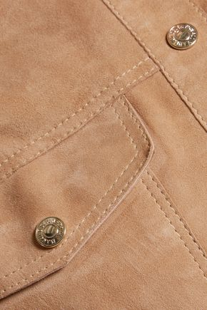 7 FOR ALL MANKIND Cropped zip-detailed suede jacket