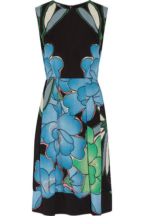 MARNI Pleated floral-print crepe dress
