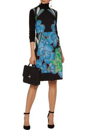 MARNI Pleated floral-print crepe dress
