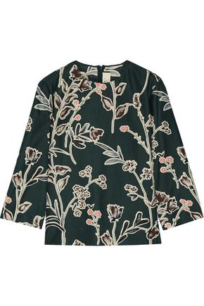 MARNI Printed cotton and silk-blend shantung shirt