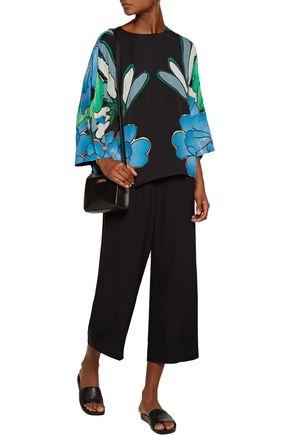 MARNI Cutout printed crepe blouse
