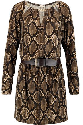MICHAEL MICHAEL KORS Belted snake-print stretch-jersey mini dress