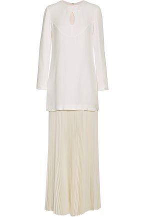 DEREK LAM Pleated silk organza-paneled crepe gown