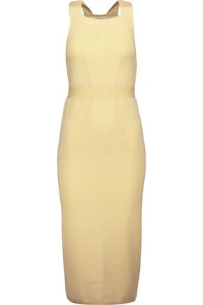 CUSHNIE ET OCHS Cutout poinelle-trimmed stretch-knit dress