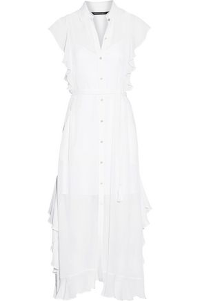 MARISSA WEBB Ruth belted ruffle-trimmed silk-georgette midi dress