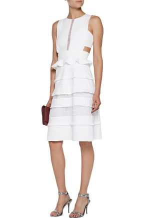 MARISSA WEBB Alexi cutout lace-paneled stretch-cady midi dress