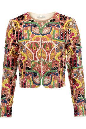 ALICE + OLIVIA Kidman cropped embroidered cotton-blend jacket