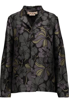 MARNI Printed wool and silk-blend jacket