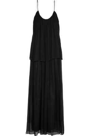 ELIZABETH AND JAMES Mael pleated silk-chiffon maxi dress