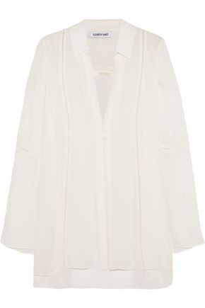 ELIZABETH AND JAMES Luna pointelle-trimmed silk crepe de chine jacket