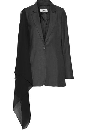 MM6 MAISON MARGIELA Chiffon-paneled wool-blend blazer
