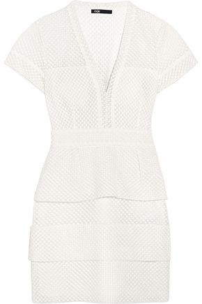 MAJE Embroidered cotton and silk-blend tulle mini dress