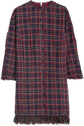 SJYP Fringed plaid brushed-cotton dress