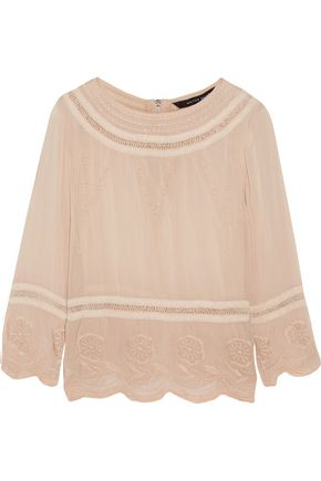 W118 by WALTER BAKER Chloe embroidered crepe blouse