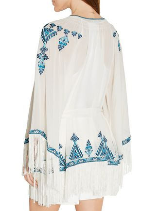 TALITHA Kumari embroidered silk-crepe jacket