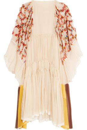 CHLOÉ Appliquéd silk-crepon dress