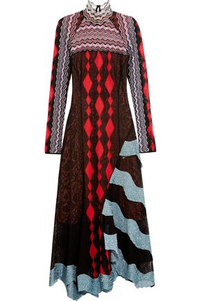 PETER PILOTTO Asymmetric crocheted lace maxi dress