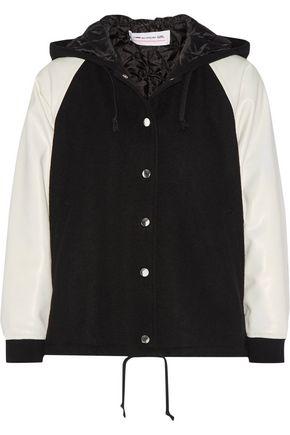 COMME DES GARÇONS GIRL Faux leather-paneled wool-blend bomber jacket