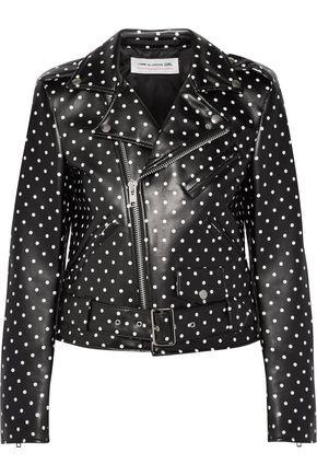COMME DES GARÇONS GIRL Polka-dot faux leather biker jacket