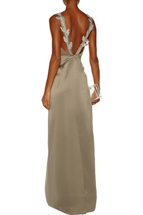 RAOUL Calla embellished satin gown