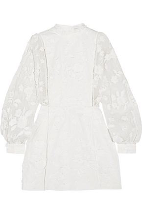 ZIMMERMANN Mischief Manor embroidered silk and linen mini dress