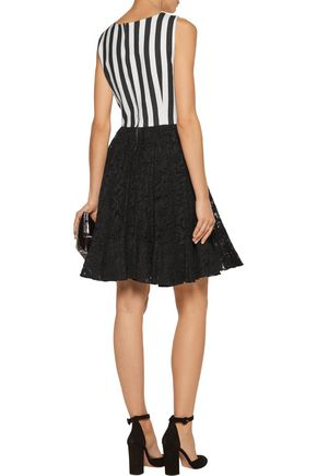 DOLCE & GABBANA Striped cotton-blend and corded lace mini dress