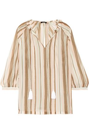 RAOUL Fiorella ruffled striped chiffon blouse