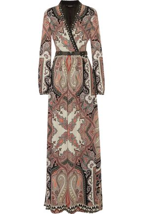 ETRO Embellished printed silk crepe de chine maxi dress