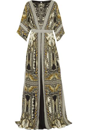 ETRO Embellished leather-trimmed printed silk-chiffon maxi dress